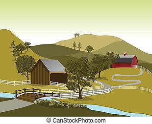 granja, norteamericano, escena