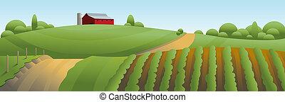 granja, paisaje, ilustración