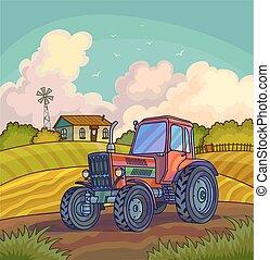 granja, paisaje rural, con, campo, y, tractor.