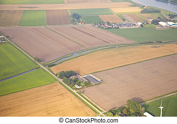 granja, paisaje, sobre, holandés