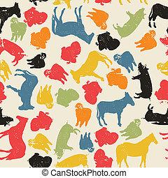 granja, patrón, animales, seamless