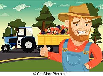granja, plano, vector, ilustración