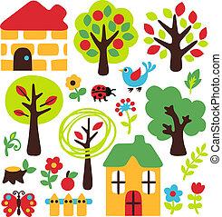 granja, poco, árbol, insecto