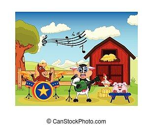 granja, pollo, cerdo, caballo, vaca