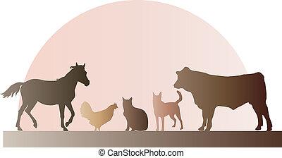 granja, siluetas, animales
