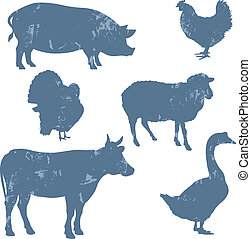 granja, siluetas, vector, animales