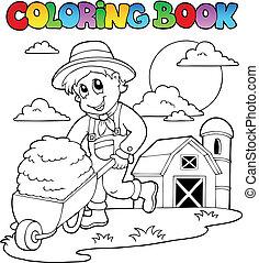 granja, tema, libro colorear, 3