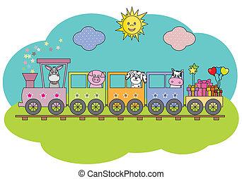 granja, tren, animales