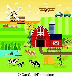 granja, vacas, orgánico, pollos, plano, diseño de jardín, concepto, paisaje., vector, elementos, cualesquiera, infographic, alimento, ilustración, design., paisaje, campos, bandera, plano de fondo
