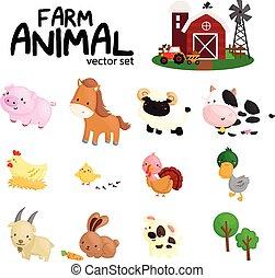 granja, vector, animal