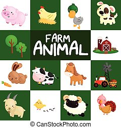 granja, vector, conjunto, animal