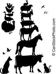 granja, vector, conjunto, animales
