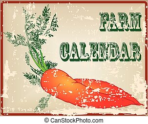 granja, vendimia, calendario, tarjeta
