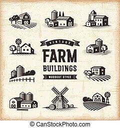 granja, vendimia, edificios, conjunto