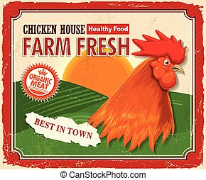 granja, vendimia, fresco, diseño, cartel