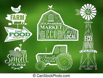 granja, vendimia, verde