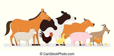 granja, vista, grupo, animales, lado