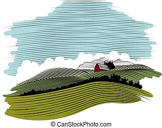 granja, woodcut, escena, paisaje