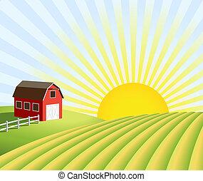 granja, y, campos, en, salida del sol