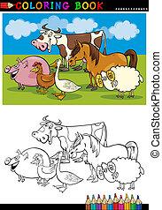 granja, y, ganado, animales, para, colorido