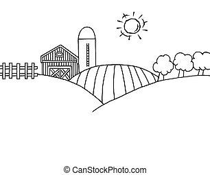 granja, y, silo, en, tierra de cultivo