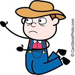 granjero, caricatura, mendigar