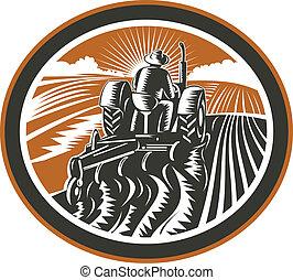 granjero, conducción, tractor, arada, campo, retro