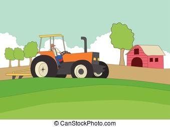 granjero, conducción, un, tractor