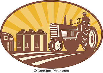 granjero, conducción, vendimia, tractor, retro, woodcut
