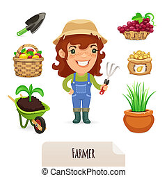 granjero, conjunto, hembra, iconos