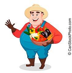granjero, divertido, agronomist., grasa, jardinero
