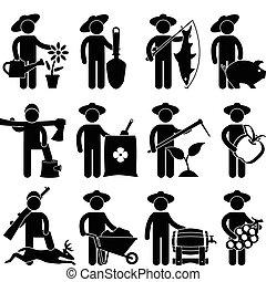 granjero, jardinero, pescador, cazador