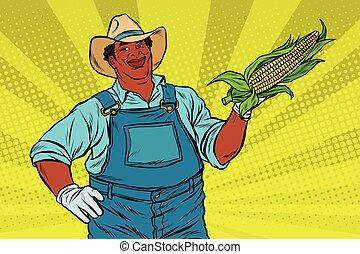 granjero, mazorca de maíz, norteamericano, africano