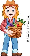 granjero, niña, tenencia, caricatura, cesta, vegetal, fruits
