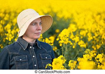 granjero, oilseed, campo, rapeseed, hembra, cultivado,...