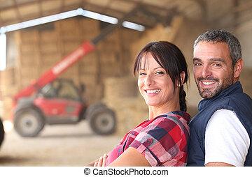 granjero, pareja
