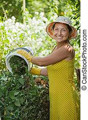 granjero, pasto o césped, composting