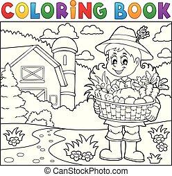 granjero, tema, 2, colorido, mujer, libro