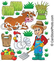 granjero, tema, conjunto, 1