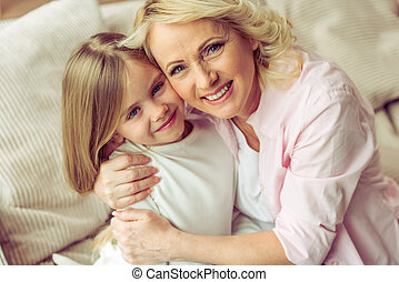 Granny and granddaughter - Portrait of happy beautiful ...