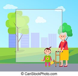 Granny and Granddaughter, Vector Illustration - Granny and...