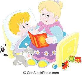 Granny and grandson reading fairyta - Grandmother reading...