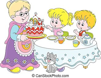 Christmas cake - Granny and her grandchildren at the holiday...