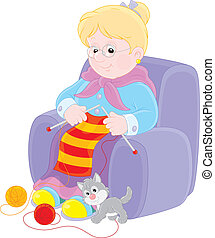 Grandmother sits in an easychair and knits a striped scarf