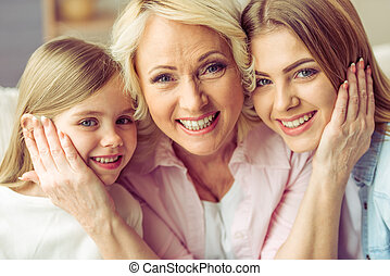 Granny, mom and daughter - Portrait of three generations of...