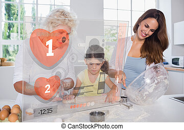 Granny mother and child making cook