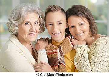 granny, mother and son