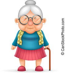 Granny Old Lady 3d Realistic Cartoon Character Design...