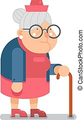 Granny Old Lady Character Cartoon Flat Design Vector...