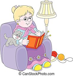Granny reading - Grandmother sitting in her armchair and...